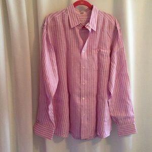 Bugatchi Uomo Linen Shirt Shaped Fit Lavender
